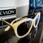Health care, eyesight and vision concept. Revlon branded sunglasses